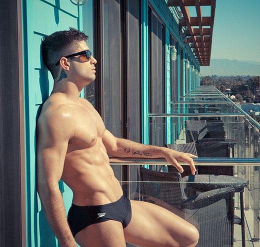 Str8 Guy in Black Speedos